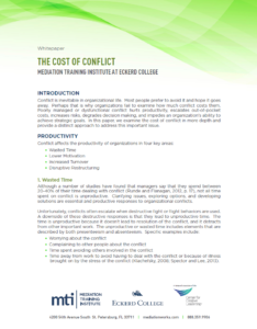 Cost of Conflict White Paper Cover Page